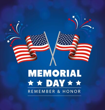 memorial day, honoring all who served, with flags usa decoration vector illustration design Vectores