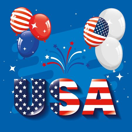 memorial day, honoring all who served, american flag in letters with balloons helium vector illustration design Vectores