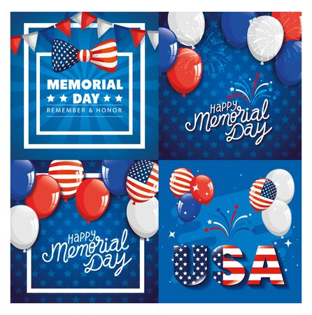 cards memorial day, honoring all who served, with decoration vector illustration design