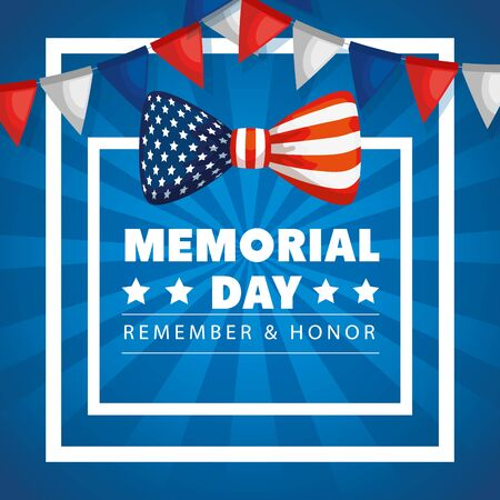 memorial day, honoring all who served, with bow and garlands hanging decoration vector illustration design