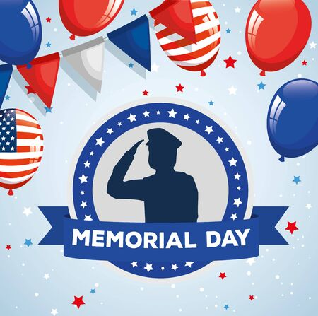 memorial day, honoring all who served, saluting army soldier silhouette with balloons helium decoration vector illustration design Vectores