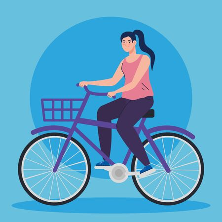 beautiful woman in bike avatar character vector illustration design