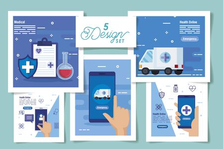 set five designs of medicine online and icons vector illustration design