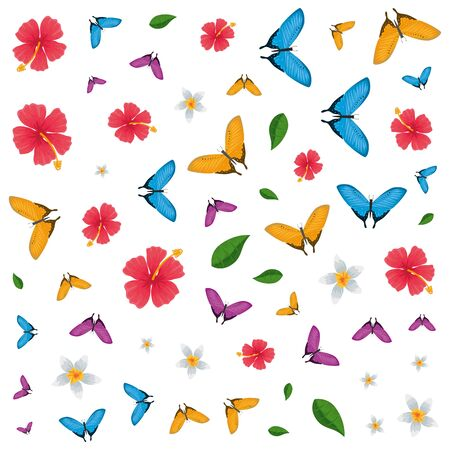 group of beautiful butterflies flying and flowers pattern vector illustration design 写真素材 - 149008158