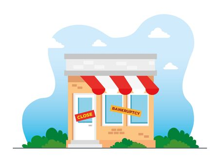 store shop in bankrupt and close, locked door on a business that has gone bankrupt vector illustration design