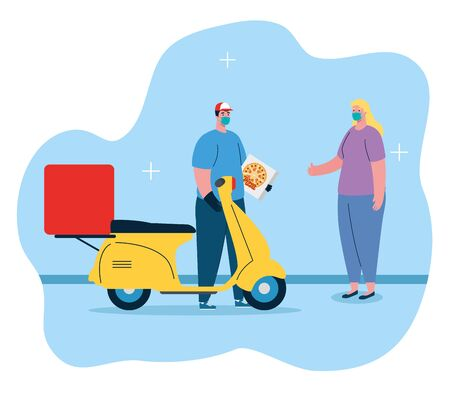 delivery of pizza during the prevention of coronavirus, courier worker using face mask with motorcycle vector illustration design