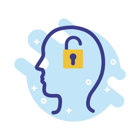 profile with padlock mental health line style icon vector illustration design