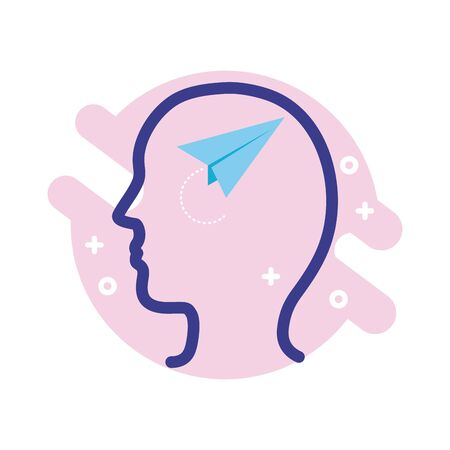 profile with paper airplane mental health line style icon vector illustration design