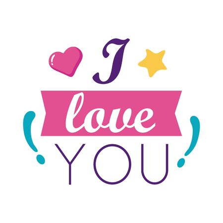 I love you text with heart and ribbon flat style icon design of Passion and romantic theme Vector illustration