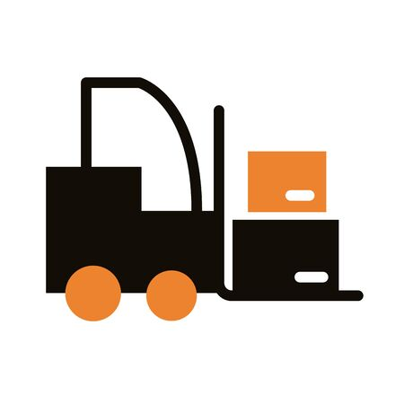 forklift with boxes carton delivery service silhouette style vector illustration design