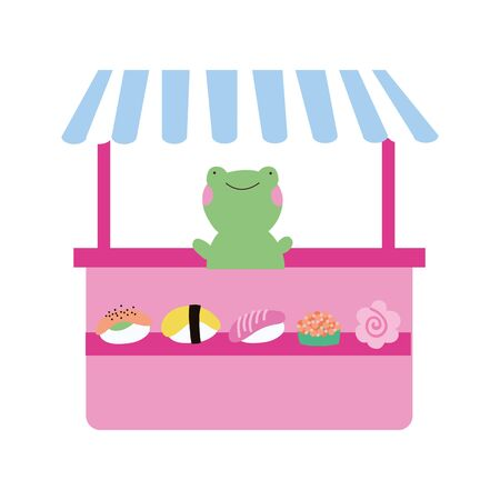 cute little frog in sweet pastry kiosk vector illustration design Иллюстрация