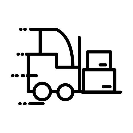 forklift with boxes carton delivery service line style vector illustration design