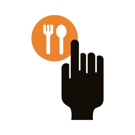hand index fork and spoon delivery service silhouette style vector illustration design