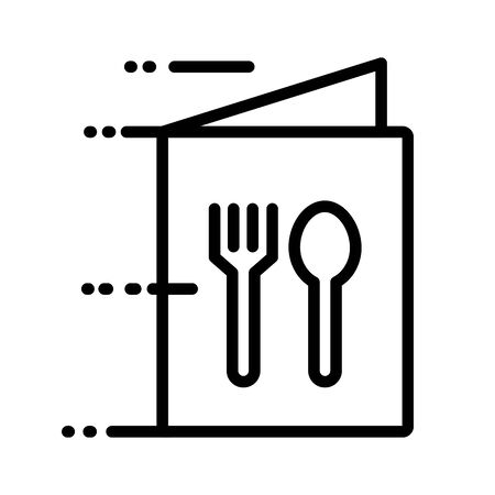 menu with fork and spoon delivery service line style vector illustration design