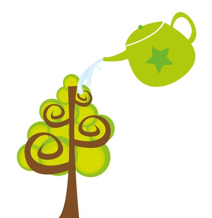 watering can and tree cartoon isolated over white background. vector