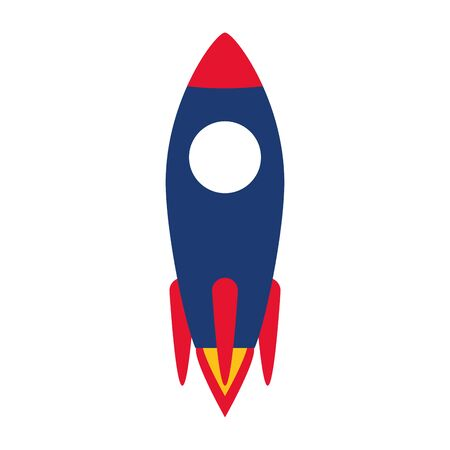 launching rocket start on white background vector illustration