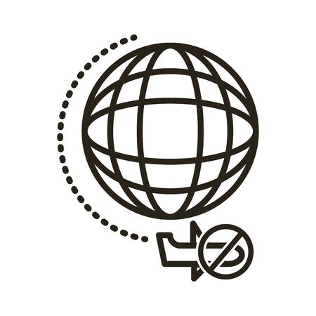 planet with denied flights line style icon vector illustration design
