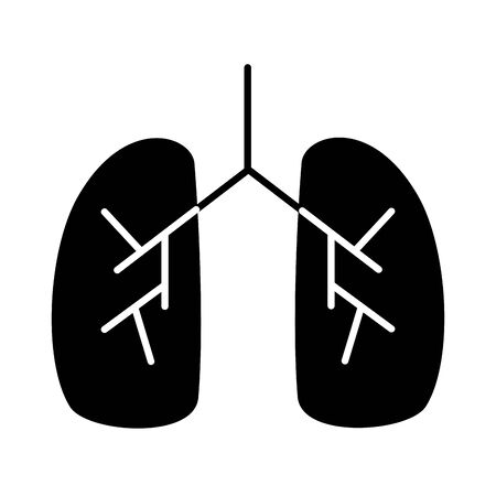 human lungs with covid19 silhouette style icon vector illustration design