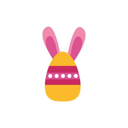 easter egg painted with stripes and rabbit ears flat style vector illustration design