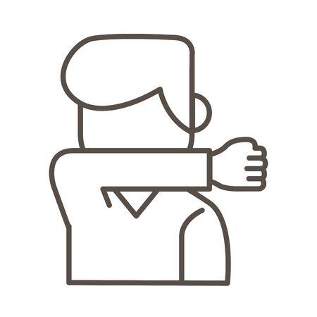 man coughing in elbow line style icon vector illustration design Vektoros illusztráció