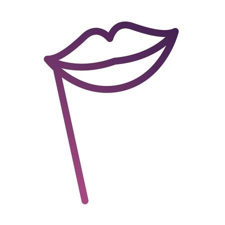 lips female accessory line degradient style icon vector illustration design