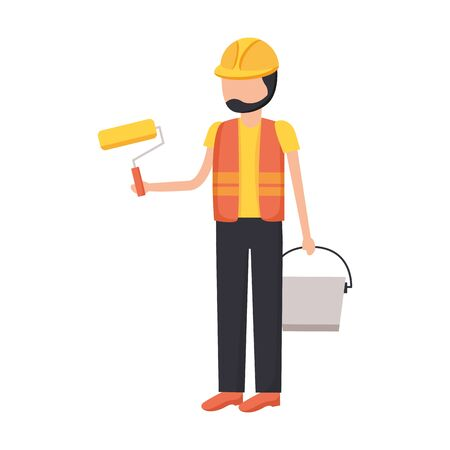 worker construction tool roller bucket vector illustration design Ilustração
