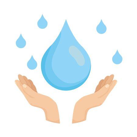 hand with water day ecology celebration vector illustration design Illusztráció
