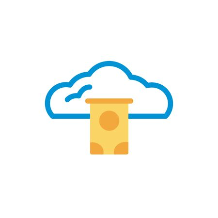 cloud computing with hard disk lineal color style vector illustration design