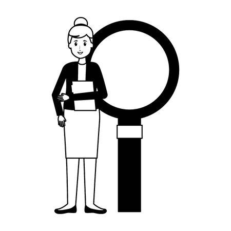 woman office folder magnifier work vector illustration Vectores