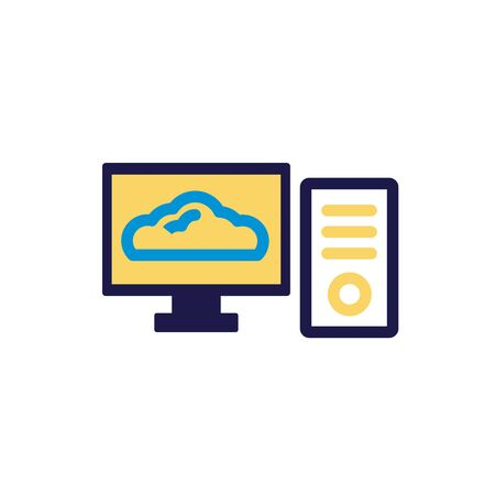 desktop with cloud computing lineal color style vector illustration design Vectores