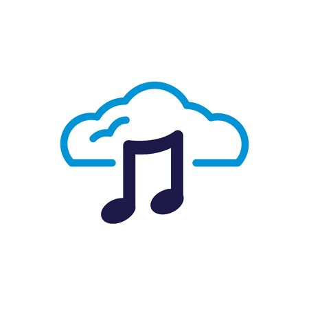 cloud computing with music notes lineal color style vector illustration design Vectores