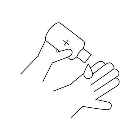 hands sanitizer, bottle of desinfectant, line style icon vector illustration design