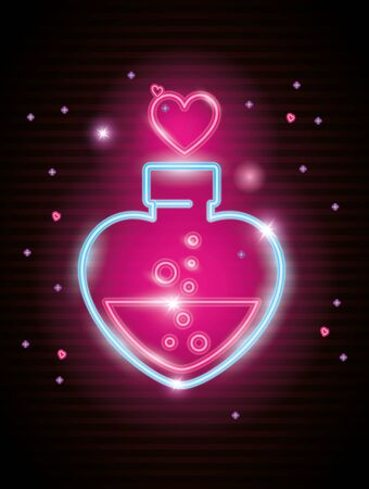 bottle with heart shaped in neon light, valentine day vector illustration design