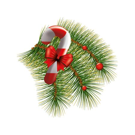sweet cane Christmas with bow ribbon and tropical leafs vector illustration design Illustration