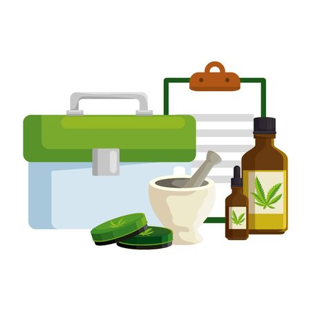 medical kit and checklist with cannabis products vector illustration design