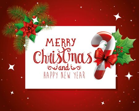 poster of merry christmas and happy new year with decoration vector illustration design Illustration