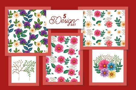 Five designs of spring flowers and leaves, Natural floral nature plant ornament garden decoration and botany theme Vector illustration Illustration