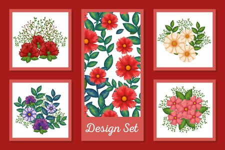 Spring flowers and leaves set design, Natural floral nature plant ornament garden decoration and botany theme Vector illustration
