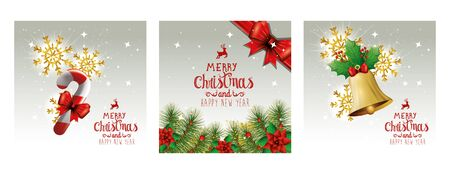 set poster of merry christmas and happy new year with decoration vector illustration design