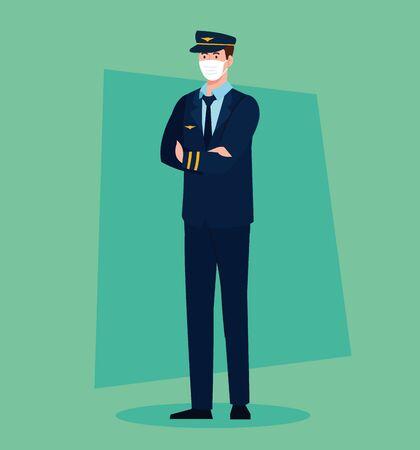 pilot worker wearing medical mask against covid 19 vector illustration design 矢量图像