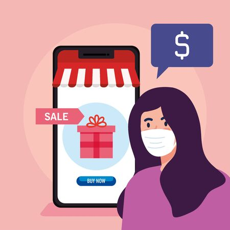 woman avatar with mask gift and smartphone design of Shopping online ecommerce market retail and buy theme Vector illustration