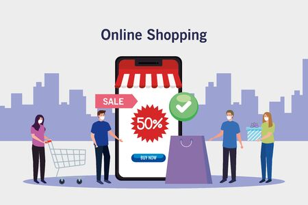 women and men with masks bag and smartphone design of Shopping online ecommerce market retail and buy theme Vector illustration