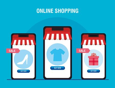 Smartphones with tent heel tshirt and gift design of Shopping online ecommerce market retail and buy theme Vector illustration 向量圖像