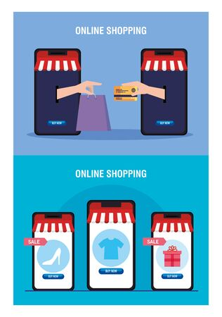 Smartphones with tent hands holding bag credit card and icon set design of Shopping online ecommerce market retail and buy theme Vector illustration