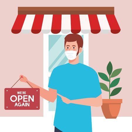 open again after quarantine, man with label of reopening of shop, we are open again, store shop facade vector illustration design Illustration