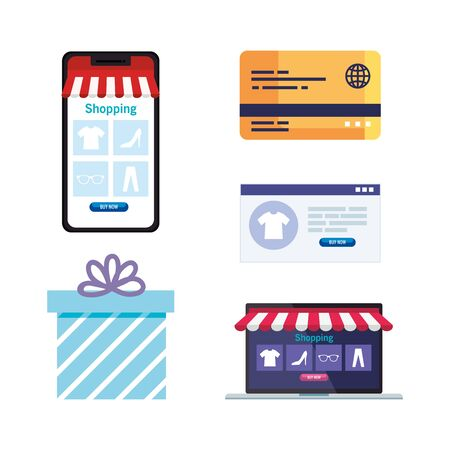 Smartphone gift credit card website and laptop design of Shopping online ecommerce market retail and buy theme Vector illustration