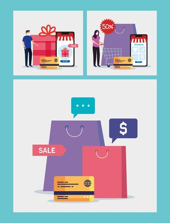 man and woman with bags and credit card design of Shopping online ecommerce market retail and buy theme Vector illustration 向量圖像