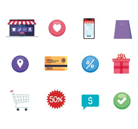Icon set design of Shopping online ecommerce market retail and buy theme Vector illustration