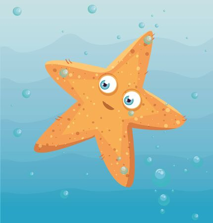cute starfish animal marine in ocean, seaworld dweller, cute underwater creature,habitat marine vector illustration design 向量圖像