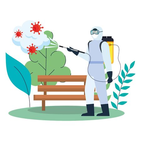Man with protective suit spraying park bench with covid 19 virus design, Disinfects clean and antibacterial theme Vector illustration Illustration